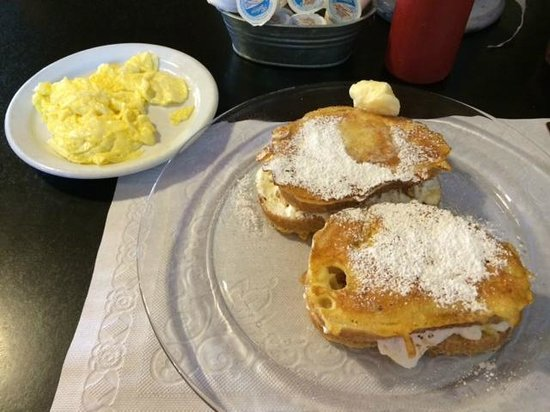 Wood's Creek : Stuffed Sourdough French Toast with scrambled eggs
