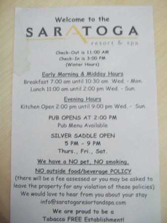 Saratoga Hot Springs Resort : sign in room regarding no outside food and drink