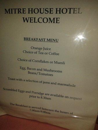 Mitre House Hotel: menu do café da manhã