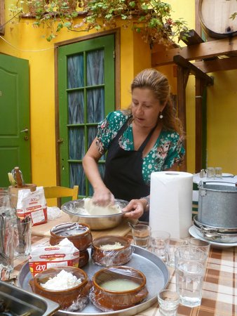 Athens Cooking Day Tours : Maria showing us how to do it.