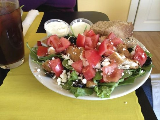 Over The Moon Cafe and Bakery: Fresh, delicious salads, home made dressings.
