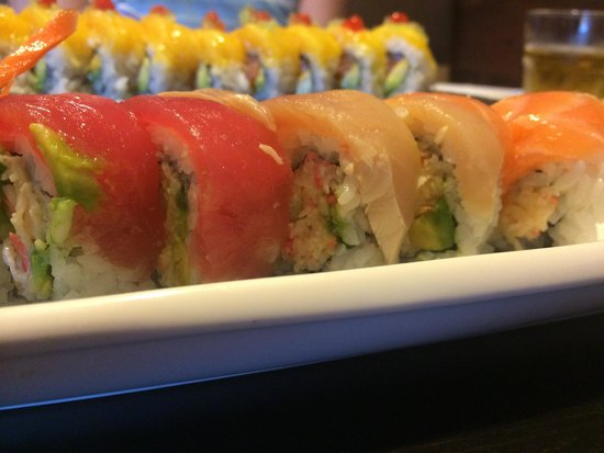 Love Boat Sushi: Rainbow Roll and Mango Mango Roll in background