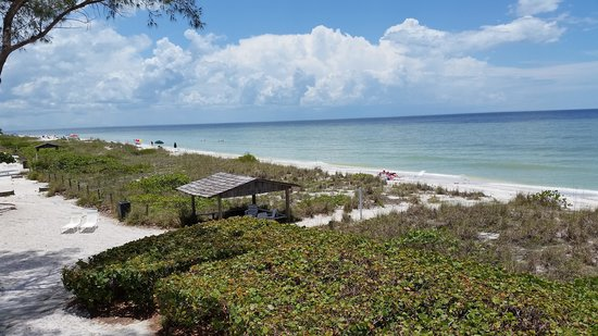 Island Inn: beach view from lodge