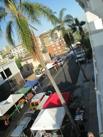 La Pensione: View of farmers market and ocean from balcony