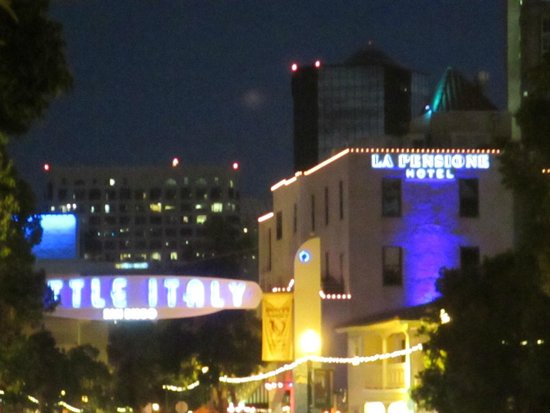 La Pensione: View of hotel and Little Italy sign