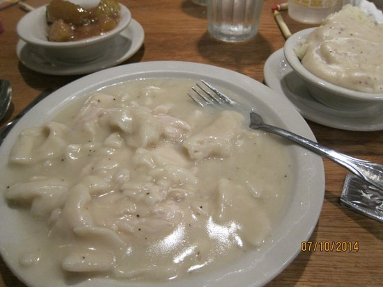 Cracker Barrel: Chicken & dumplings with mashed potatoes and apples