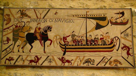 Museo del Tapiz de Bayeux: Partial panel displayed in darkened sun shielded long room