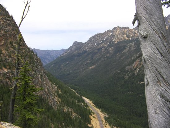 Washington Pass Overlook: Looking down road to Twisp