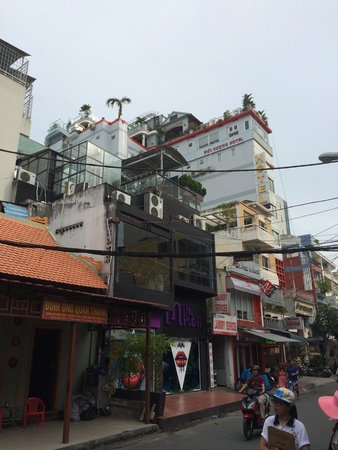 Duc Vuong Hotel: Hotel from the street, the little palmtree grows on the rooftop terrace
