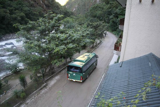 SUMAQ Machu Picchu Hotel : From our balcony, right on edge of town to Machu Picchu by bus.
