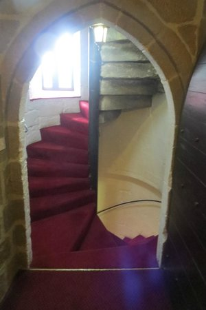 Langley Castle Hotel: The actual stairwell up to the Cadwallader room. Cool.