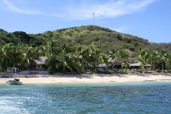 Tokoriki Island Resort: view of hotel on the island from boat