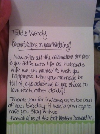 BEST WESTERN Diamond Inn: Card mailed to us after our stay!
