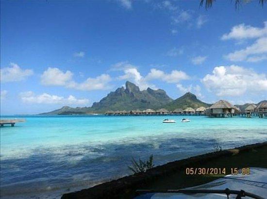 """Four Seasons Resort Bora Bora: """"mountain"""" view across lagoon"""