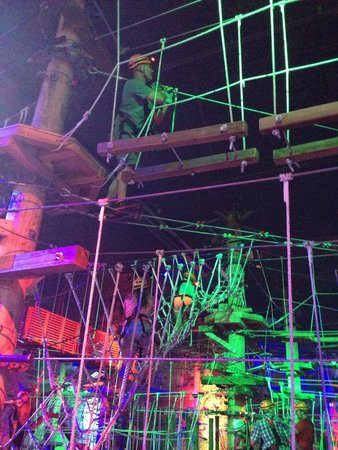Louisville Mega Cavern: Several levels of the ropes challenge.