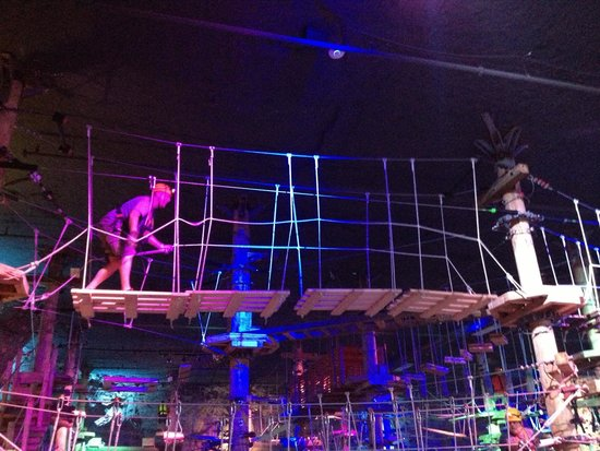 Louisville Mega Cavern: Pallet bridge in the ropes challenge.