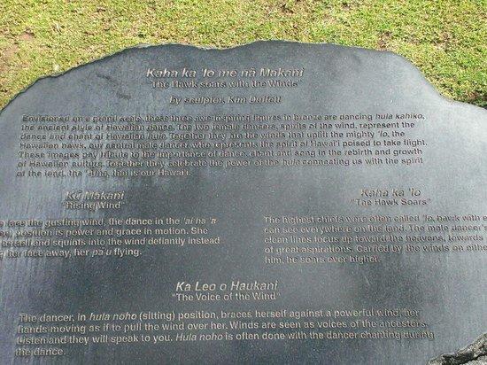 """Hilton Grand Vacations at Hilton Hawaiian Village: The plaque for the sculpture """"Kaha ka 'Io me nā Makani"""""""