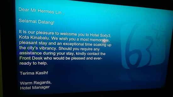 Hotel Sixty3: welcome message
