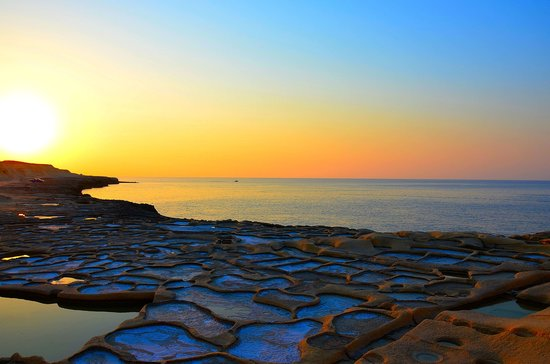 Island of Gozo, Malta: Sunset at Xwejni Saltpans, Marsalforn, Gozo
