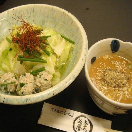 Ramen Yoroiya: 季節限定らーめん:釜あげ味噌にぼつけ麺。旬を感じていただけます。