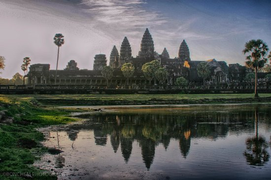 Siem Reap Province, Cambodia: Angkor Wat reflection from a pool
