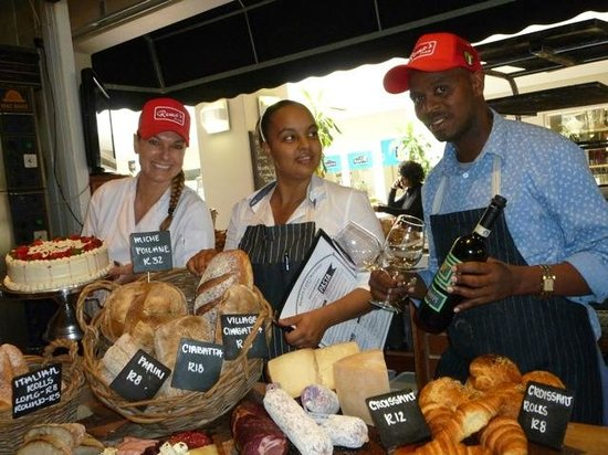 "Remo's Originale : Vanessa Smith, head of bakery, Amelia Sans-Souci, store manager, and Selby ""Black Mamba"" Ntombel"