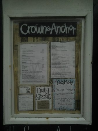 The Crown and Anchor Restaurant: Menu board?