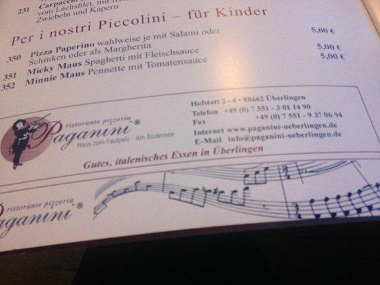 Ristorante Paganini am Festspielhaus: меню