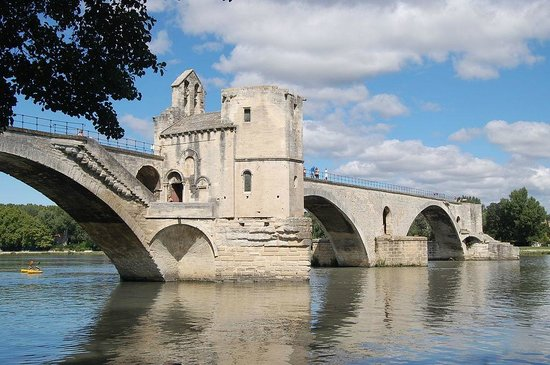 Pont Saint-Bénézet (Pont d'Avignon) : Northern side of the bridge with the Chapel of Saint Nicholas