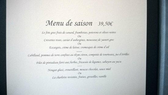 La Liégeoise : Menu de saison, 10th July, 2014