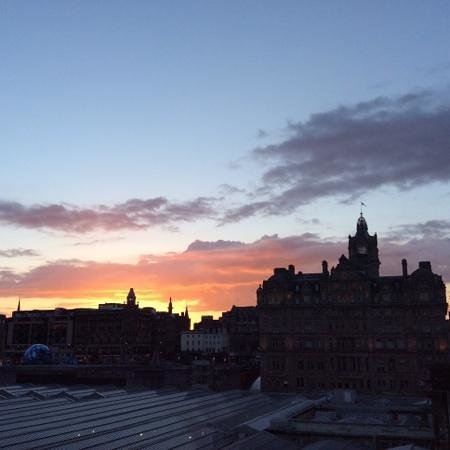 The Balmoral Hotel: Balmoral Hotel (right) at sunset
