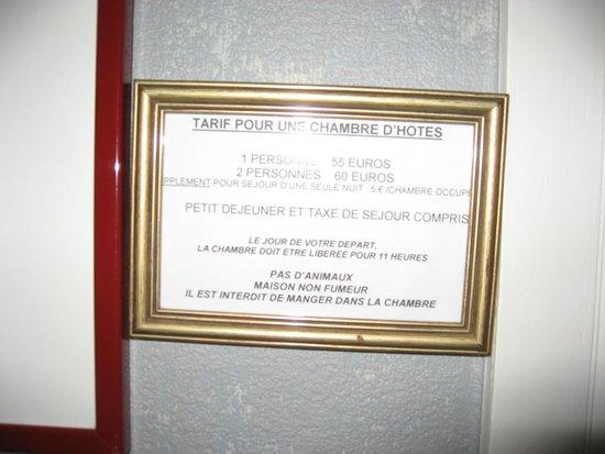 A la Maison du Heron : tarifs