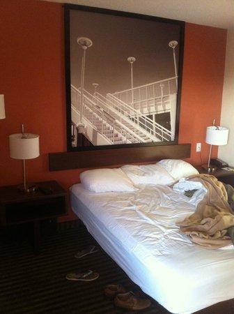 Super 8 Orlando International Drive : Quarto com boa decoração e mobília.