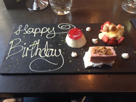 The Rutland Hotel: Birthday desert in kyloe restaurant