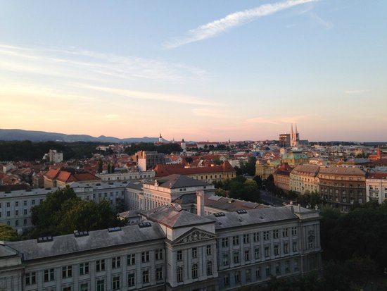 The Westin Zagreb: view of Zagreb from window at dusk