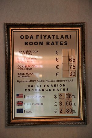 Q Hotel Istanbul : Price table in reception