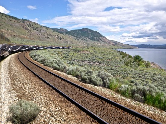 The Rocky Mountaineer Train: chugging along the lake