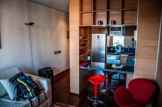 Austral Suites: Sala com cozinha americana
