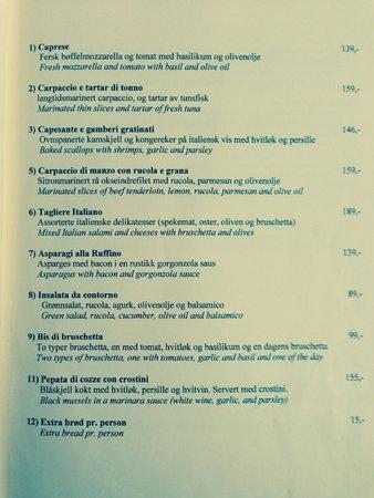 Ruffino Ristorante Italiano : starter menu page 1