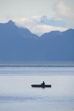 Orca Island Cabins: fishing at dusk