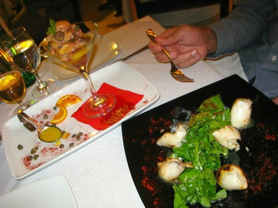 1800-Floga Restaurant: Shrimp Ceviche with Orange Sauce and Stuffed Baby Squids