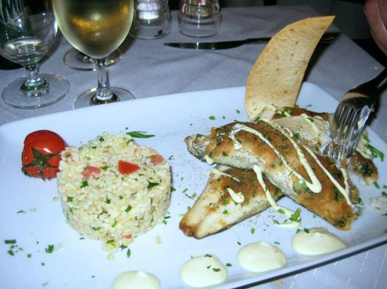 1800-Floga Restaurant: Fried White Fish? with Grilled Local Vegetable.