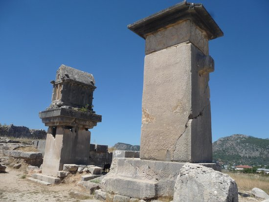 Xanthos - Lycian Antique City : pillar tombs.