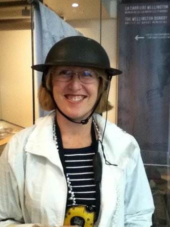 Wellington Tunnels, Memorial to the Battle of Arras: Loving the tin hats you wear during the underground tour!