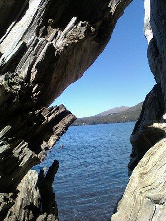 Museo del Lago Gutierrez : Vista del Lago Gutierrez a travez de un tronco seco