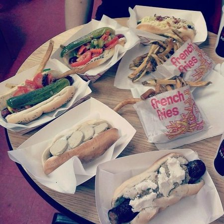 Hot Doug's Inc. : Counter-clockwise from top: veal, Chicago x2, foie gras, shrimp and grits
