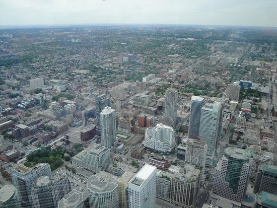 Hilton Garden Inn Toronto Downtown : View from CN Tower - HGI is the red building in the middle of the pic