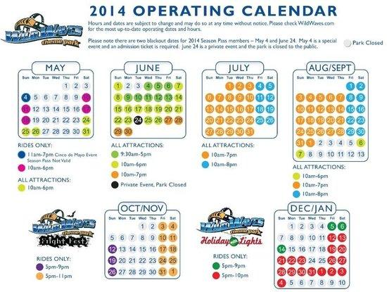 Wild Waves Theme & Water Park : 2014 Operating Calendar