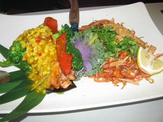 Spring Rolls: Salmon Filet with Mango Salsa & Pad Thai