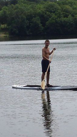 Ridgeback Sports: Liviu paddle boarding for the first time on Lake Huntington! !